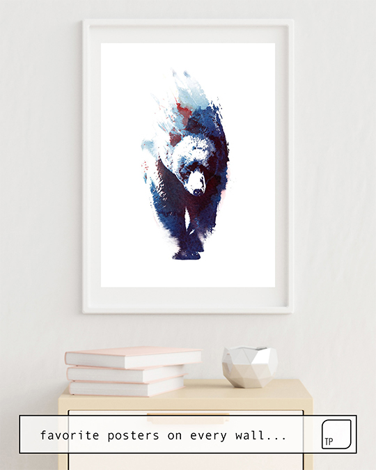 The photo shows an example of furnishing with the motif DEATH RUN by Robert Farkas as mural