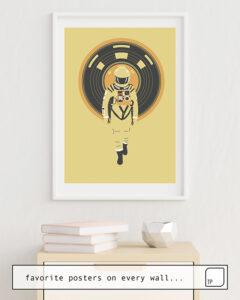 Das Bild zeigt ein Einrichtungsbeispiel mit dem Motiv DJ HAL 9000 von Robert Farkas als Wandbild