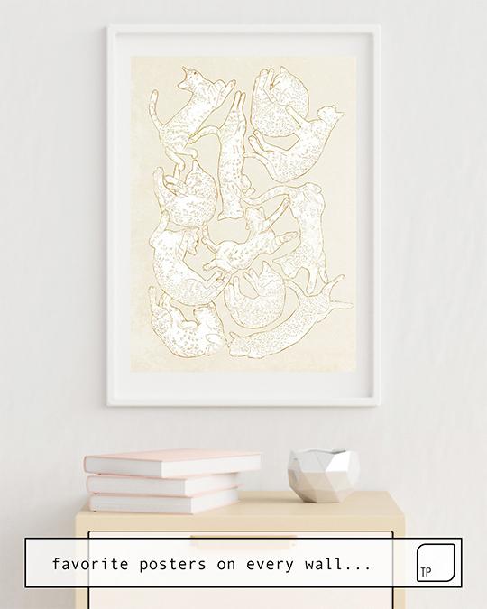 Das Bild zeigt ein Einrichtungsbeispiel mit dem Motiv ELEVEN SLEEPY CAT von Robert Farkas als Wandbild