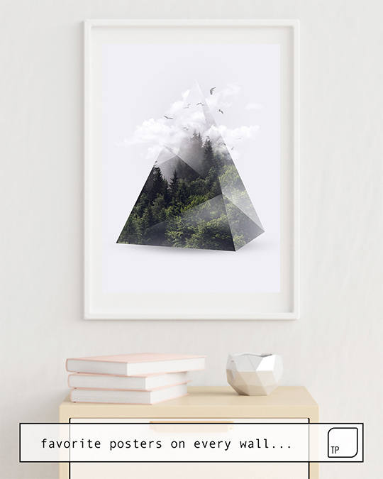 The photo shows an example of furnishing with the motif FOREST TRIANGLE by Robert Farkas as mural