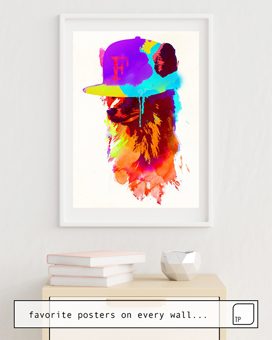 The photo shows an example of furnishing with the motif FOXEY'S FAVORITE CAP by Robert Farkas as mural