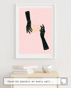 The photo shows an example of furnishing with the motif HANDS IN LOVE by Robert Farkas as mural