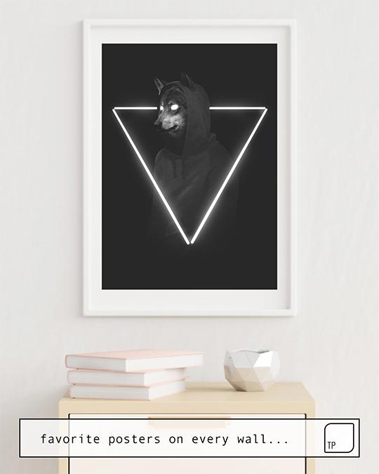 Das Bild zeigt ein Einrichtungsbeispiel mit dem Motiv IT'S ME INSIDE ME von Robert Farkas als Wandbild