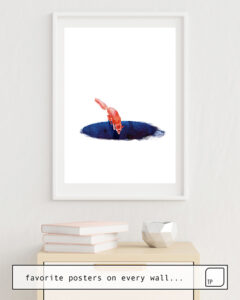 Das Bild zeigt ein Einrichtungsbeispiel mit dem Motiv JUMP INTO NOWHERE von Robert Farkas als Wandbild
