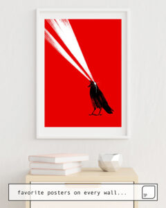 The photo shows an example of furnishing with the motif LASER CROW by Robert Farkas as mural
