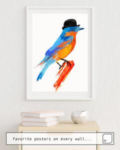 Das Bild zeigt ein Einrichtungsbeispiel mit dem Motiv LORD BIRDY von Robert Farkas als Wandbild