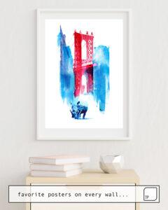 Das Bild zeigt ein Einrichtungsbeispiel mit dem Motiv MANHATTAN BRIDGE von Robert Farkas als Wandbild