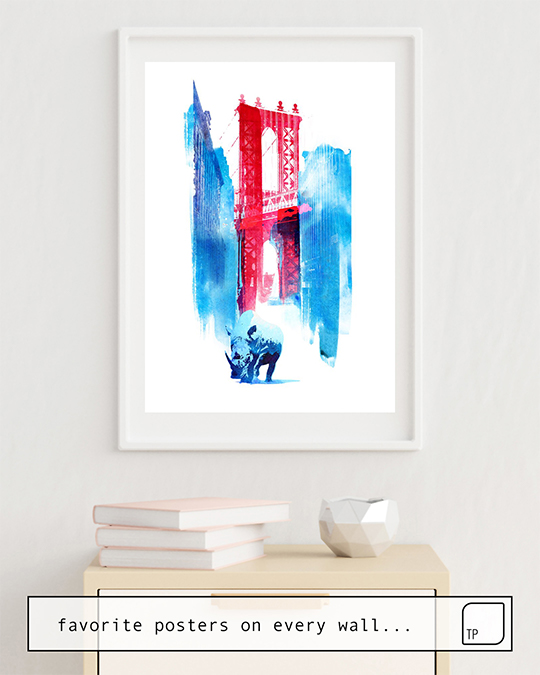 The photo shows an example of furnishing with the motif MANHATTAN BRIDGE by Robert Farkas as mural