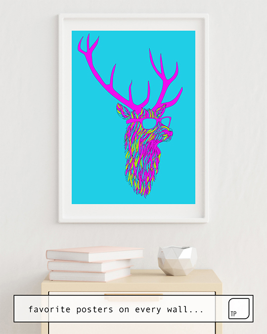 The photo shows an example of furnishing with the motif PARTY DEER by Robert Farkas as mural