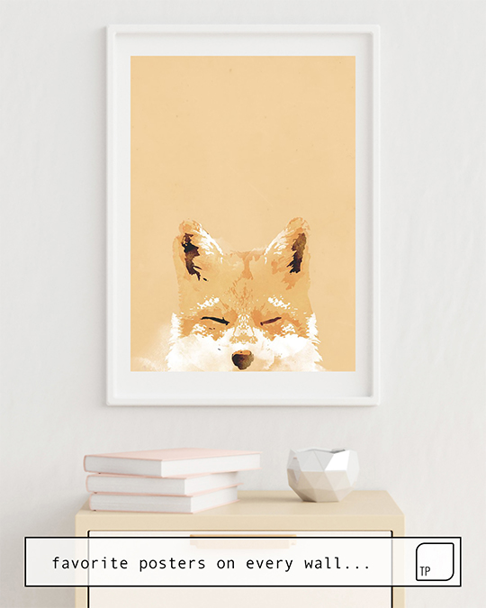 The photo shows an example of furnishing with the motif SMILING FOX by Robert Farkas as mural