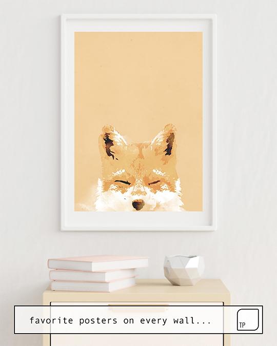 La foto muestra un ejemplo de decoración con el motivo SMILING FOX por Robert Farkas como un mural
