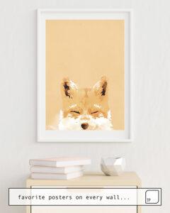 La photo montre un exemple d'ameublement avec le motif SMILING FOX par Robert Farkas comme peinture murale