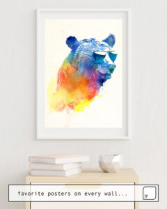 The photo shows an example of furnishing with the motif SUNNY BEAR by Robert Farkas as mural