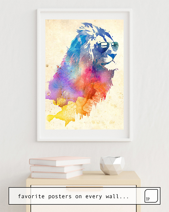 The photo shows an example of furnishing with the motif SUNNY LEO by Robert Farkas as mural