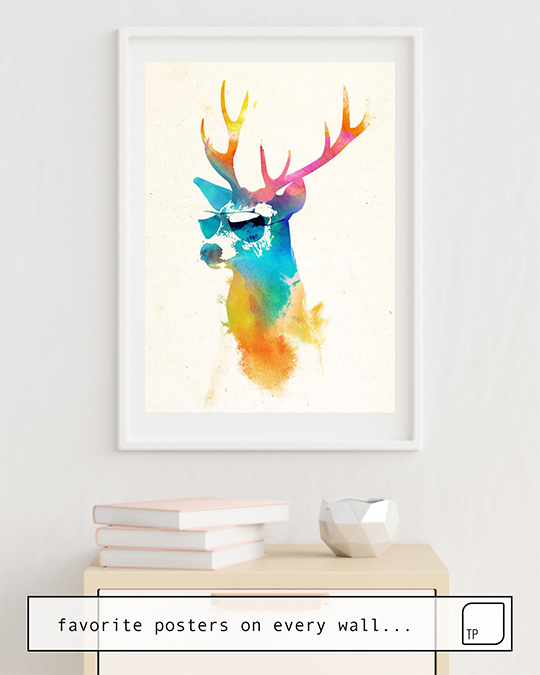 The photo shows an example of furnishing with the motif SUNNY STAG by Robert Farkas as mural