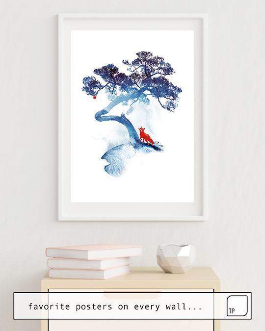 The photo shows an example of furnishing with the motif THE LAST APPLE TREE by Robert Farkas as mural