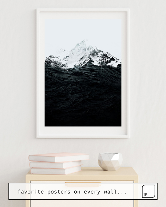 The photo shows an example of furnishing with the motif THOSE WAVES WERE LIKE MOUNTAINS by Robert Farkas as mural