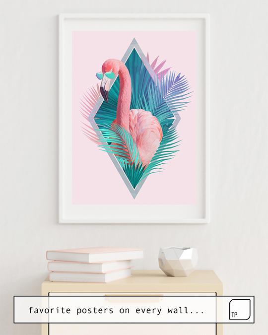 Das Bild zeigt ein Einrichtungsbeispiel mit dem Motiv TROPICAL LEAVES von Robert Farkas als Wandbild