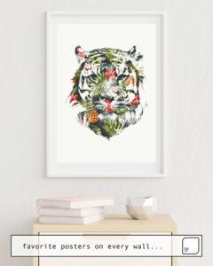 La photo montre un exemple d'ameublement avec le motif TROPICAL TIGER par Robert Farkas comme peinture murale