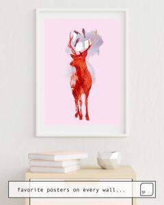 Das Bild zeigt ein Einrichtungsbeispiel mit dem Motiv USELESS DEER von Robert Farkas als Wandbild