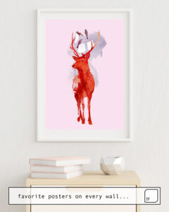 The photo shows an example of furnishing with the motif USELESS DEER by Robert Farkas as mural