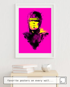 The photo shows an example of furnishing with the motif VHS-MAN by Robert Farkas as mural