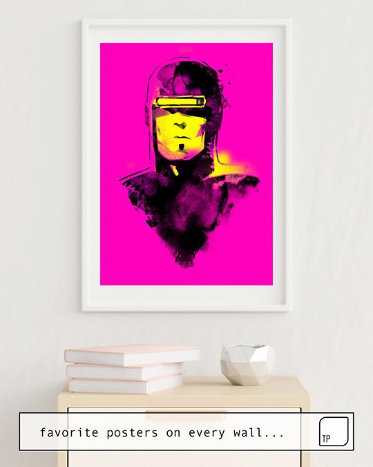 La foto muestra un ejemplo de decoración con el motivo VHS-MAN por Robert Farkas como un mural