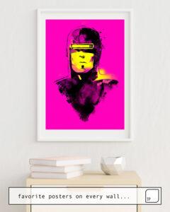 La photo montre un exemple d'ameublement avec le motif VHS-MAN par Robert Farkas comme peinture murale