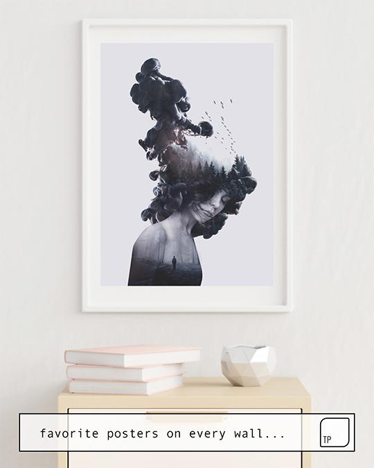 La foto muestra un ejemplo de decoración con el motivo WALKING TROUGH FLAMES por Robert Farkas como un mural