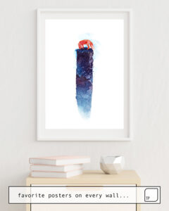 La photo montre un exemple d'ameublement avec le motif WHERE DO WE GO NOW? par Robert Farkas comme peinture murale