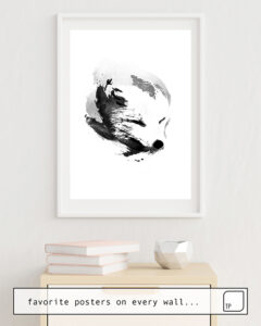 The photo shows an example of furnishing with the motif WHITE FOX by Robert Farkas as mural