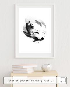 La foto muestra un ejemplo de decoración con el motivo WHITE FOX por Robert Farkas como un mural