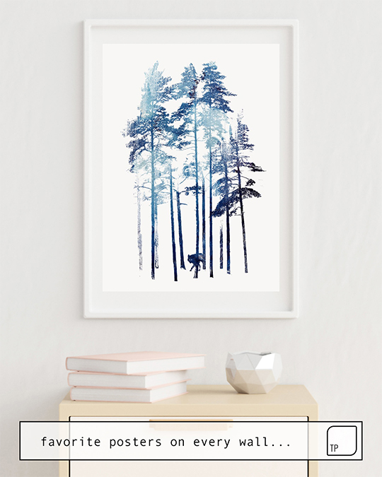 The photo shows an example of furnishing with the motif WINTER WOLF by Robert Farkas as mural