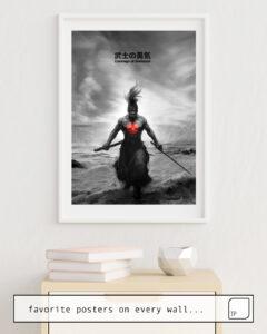 Das Bild zeigt ein Einrichtungsbeispiel mit dem Motiv COURAGE OF SAMURAI von Stanley Artgerm Lau als Wandbild