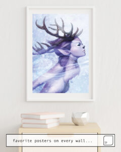 The photo shows an example of furnishing with the motif DEER PRINCESS by Stanley Artgerm Lau as mural