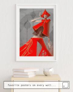 La photo montre un exemple d'ameublement avec le motif PEPPER FASHION par Stanley Artgerm Lau comme peinture murale