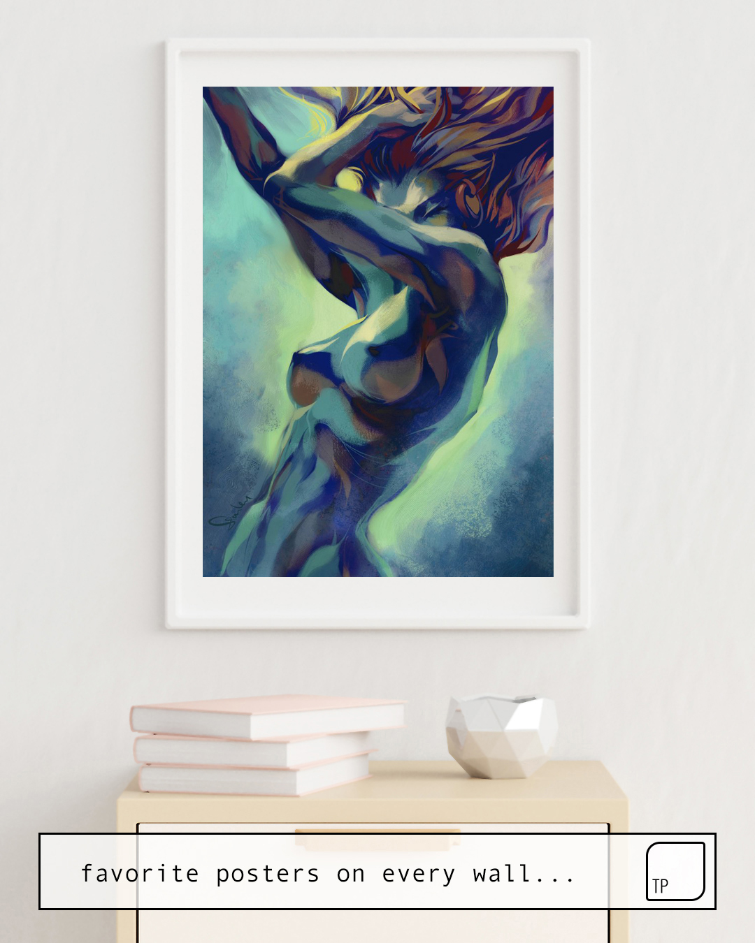 The photo shows an example of furnishing with the motif PEPPER MOTION by Stanley Artgerm Lau as mural