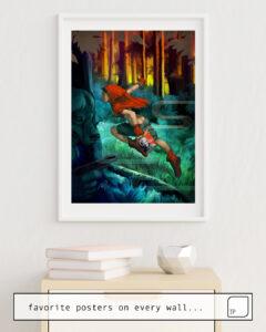 La photo montre un exemple d'ameublement avec le motif RED HOOD par Stanley Artgerm Lau comme peinture murale