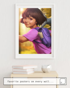 The photo shows an example of furnishing with the motif THE LITTLE EXPLORER by Stanley Artgerm Lau as mural