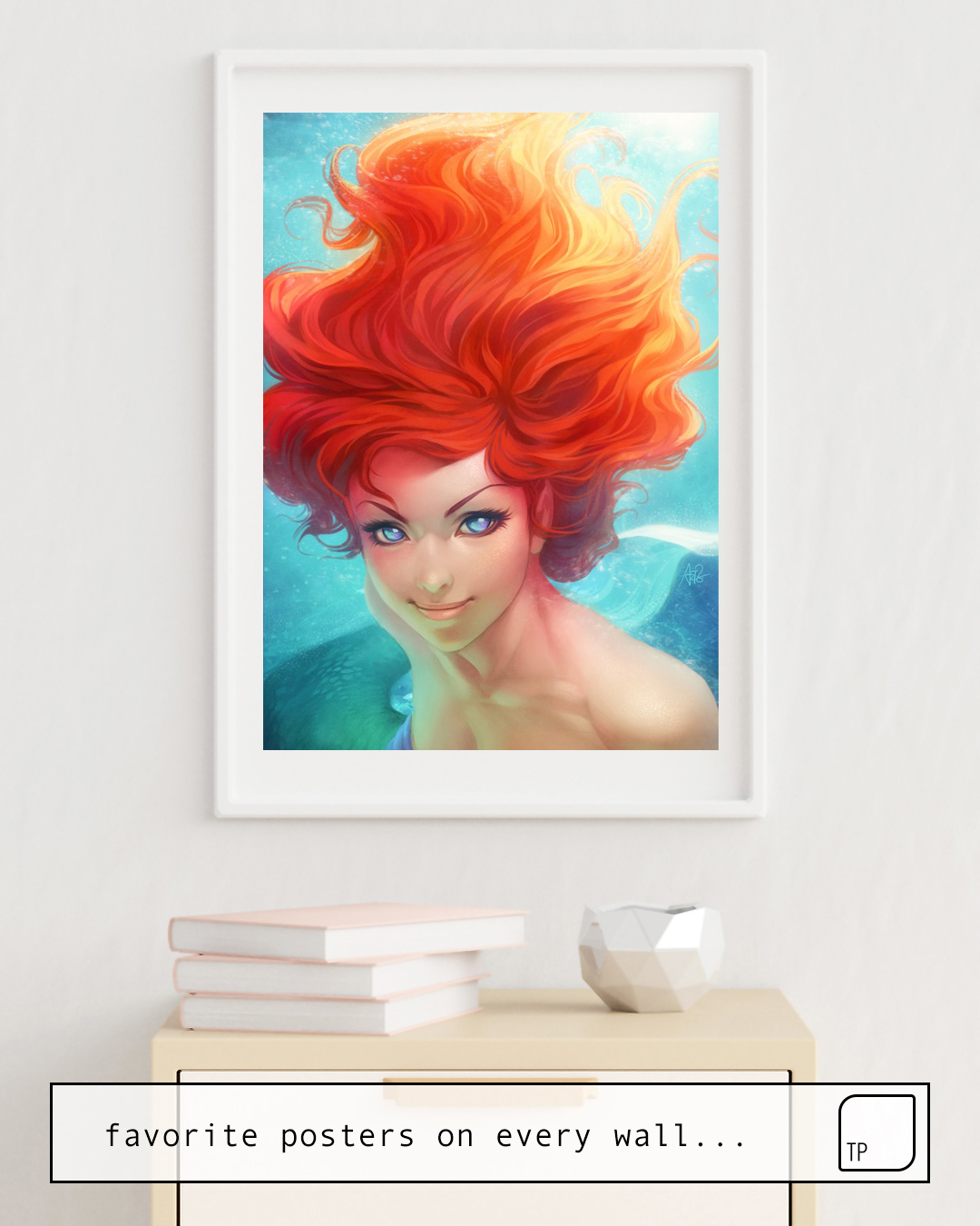 The photo shows an example of furnishing with the motif UNDER THE SEA by Stanley Artgerm Lau as mural