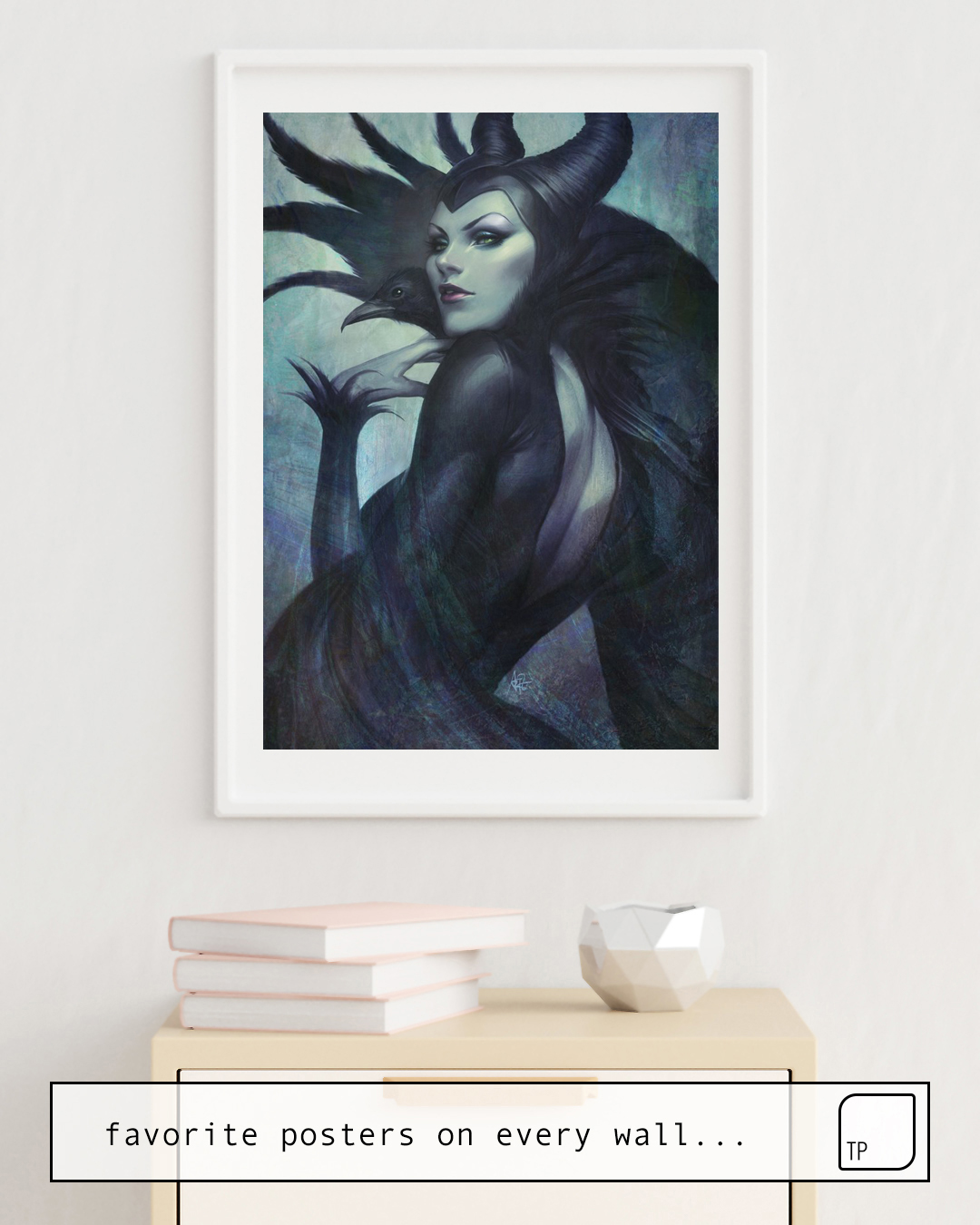 The photo shows an example of furnishing with the motif WICKED by Stanley Artgerm Lau as mural