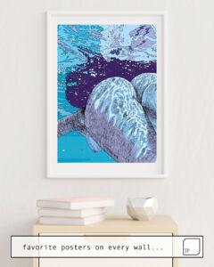 Das Bild zeigt ein Einrichtungsbeispiel mit dem Motiv HERE COMES THE SUN von Suzie-Q als Wandbild