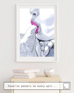Das Bild zeigt ein Einrichtungsbeispiel mit dem Motiv LOVE FOR SALE von Suzie-Q als Wandbild