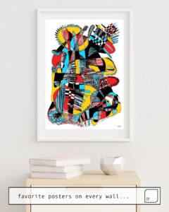 La photo montre un exemple d'ameublement avec le motif MA DÉCLARATION par Suzie-Q comme peinture murale