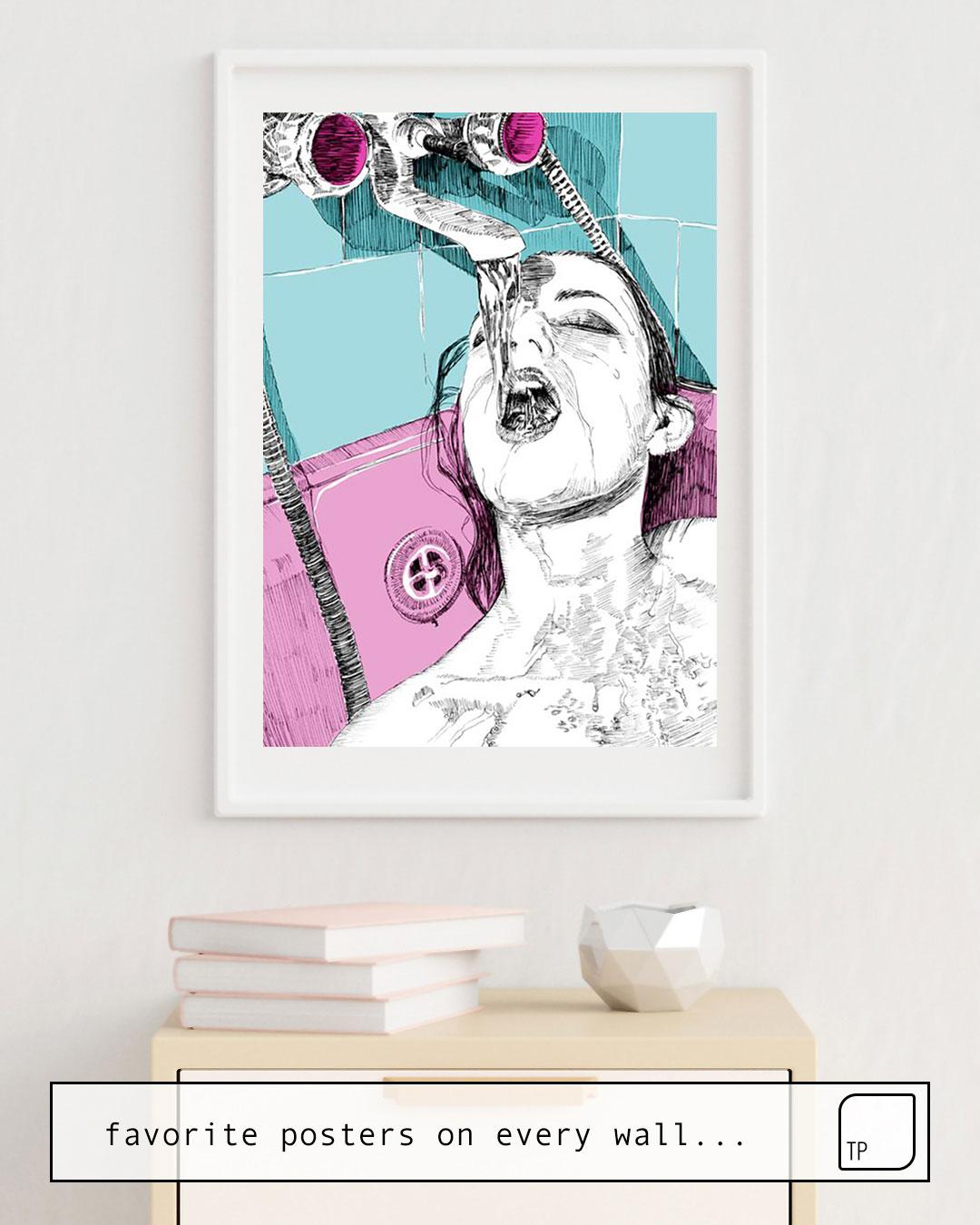Das Bild zeigt ein Einrichtungsbeispiel mit dem Motiv SHOW TIME von Suzie-Q als Wandbild