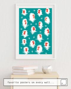 La photo montre un exemple d'ameublement avec le motif BATHING JAPANESE SNOW MONKEYS par Yetiland comme peinture murale