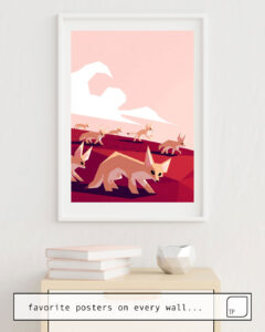 La photo montre un exemple d'ameublement avec le motif DESERT FOXES ON THE PROWL par Yetiland comme peinture murale