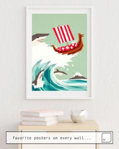 Das Bild zeigt ein Einrichtungsbeispiel mit dem Motiv SHARKWAVE von Yetiland als Wandbild