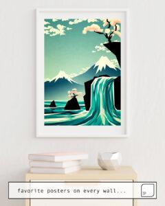 La foto muestra un ejemplo de decoración con el motivo WATERFALL BLOSSOM DREAM por Yetiland como un mural